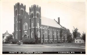 A55/ Kaukauna Wisconsin Wi Postcard Photo RPPC c50s Trinity Ev. Lutheran Church
