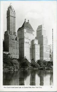 NY - New York City, View south from Lower Lake in Central Park    *RPPC