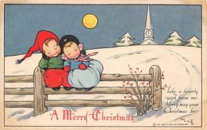 Mary La Fenetra Russell Christmas~Boy & Girl Sleep on Fence~Snow~Full Moon~IAPC