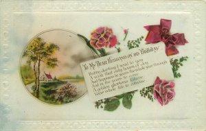 Postcard Greetings birthday flowers husband