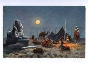 189885 EGYPT Sphinx CAMEL Moon by PERLBERG vintage PC