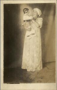 Woman in Nightgown & Cap w/ Doll Dolly c1910 Real Photo Postcard