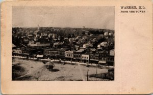 Postcard IL Warren Aerial View from the Tower Covered Well Store Fronts 1908 M22