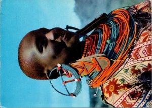 Masai Woman Postcard used 1968 Kenya
