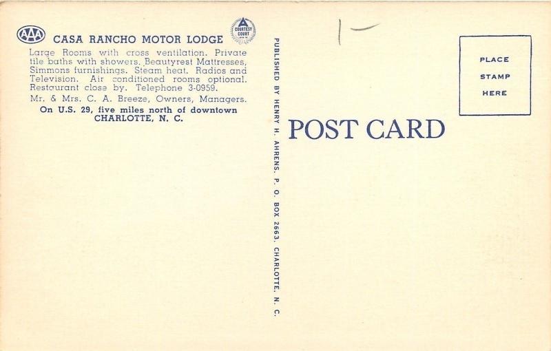 Charlotte NC~Casa Rancho Motor Lodge~1940s Linen Motel Court~Postcard