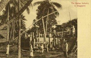 straits settlements, SINGAPORE, The Rattan Industry (1910s) Postcard
