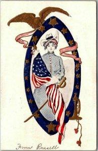 1907 DECORATION DAY Embossed Postcard GAR Grand Army Republic / Woman in Uniform