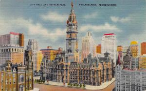 City Hall and Skyscrapers, Philadelphia, PA, Early Linen Postcard, Unused
