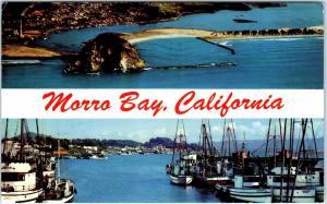 2 POSTCARDS of MORRO BAY, CA California  MORRO ROCK & HARBOR PM 1967,88
