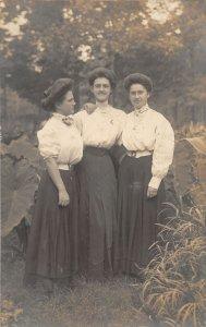 G85/ Warsaw Indiana RPPC Postcard c1910 3 Pretty Woman Dresses 8