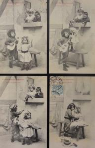French Set of 4: Les Mignons Chanteurs CHILDREN, THE CUTE SINGERS c1904 Postcard