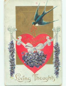 Pre-Linen valentine BLUE BIRD CARRYING HEART WITH PURPLE FLOWERS k5883