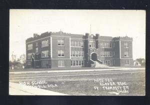 RPPC BLACKWELL OKLAHOMA HIGH SCHOOL BUILDING VINTAGE REAL PHOTO POSTCARD