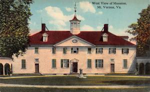West View of Mansion, Mt. Vernon, Virginia, Early Postcard, unused