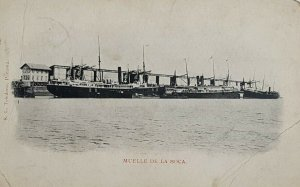 c.1903-06 Panama Steamships, Muelle de la Boca, SL Toledano Vintage Postcard L21