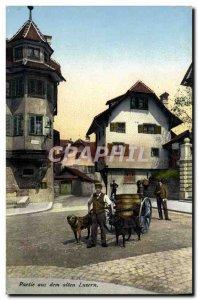Old Postcard Party Aus Dem Alten Luzern car has dogs