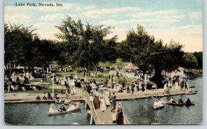 Nevada Missouri~Lake Park Crowd~Victorian Ladies on Footbridge~Rowboats~1917