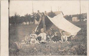 G82/ Interesting RPPC Postcard c1910 Children Tent Camping Pet Dog 3