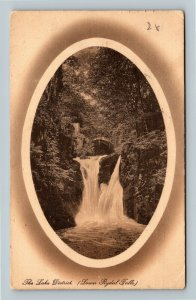 The Lake District, Lower Rydal Falls, Vintage United Kingdom c1910 Postcard