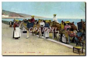 Old Postcard Donkey Mule Menton Anieres Mentonnaises