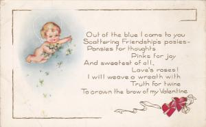 Cherub dropping posies & pansies flower for Friendship & Thoughts , 00-10s