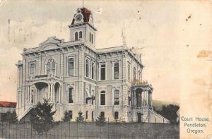 Pendleton Oregon Court House Street View Antique Postcard K33596