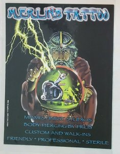 Vintage Advertising Card:Merlin's Tattoo- Miami, FLORIDA. Wizard- piercings.