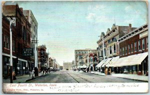 Waterloo, Iowa Postcard East Fourth Street Downtown Scene w/ 1907 Cancel
