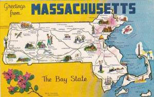 Greetings From Massachusetts With Map