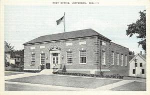 Linen Postcard Unposted Post Office Jefferson WI, Jefferson County