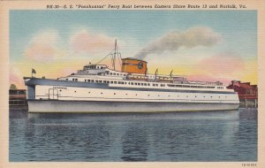 S S Pocahontas Ferry Boat Between Eastern Shore & Norfolk Curteich sk7001