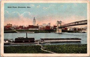 Cincinnati OH River Front Postcard unused 1915-30s