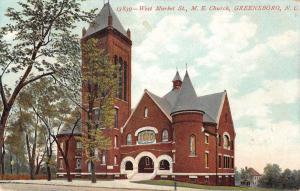 Greensboro North Carolina view of Methodist Episcopal Church antique pc Y15036