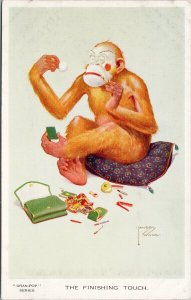 'The Finishing Touch' Monkey Makeup Gran-Pop Humour Lawson Wood Postcard G5