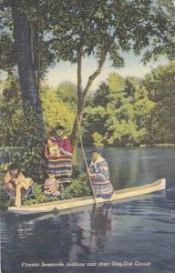 Florida Seminole Indians and their Dug-Out Canoe