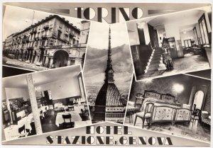 TORINO, HOTEL - STAZIONE E GENOVA , unused real photo, vera fotografia Postcard