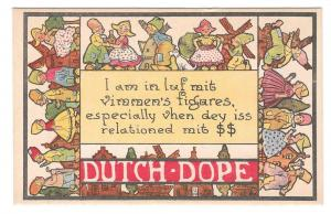 Dutch Dope I am in Luf mit vimmens figares Vintage Postcard