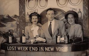 New York City~Lost Weekend~Ladies at Bar~Man~Whiskey~Bottoms Up~1940s RPPC
