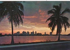 Florida Miami Skyline Over Biscayne Bay At Sunset
