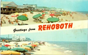 Postcard Rehoboth Beach Delaware DE Greetings Welcome Vintage 70s 60s Posted C4