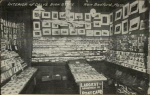 New Bedford MA Daly's Book Store Postcard Displays Deltiology GREAT IMAGE!