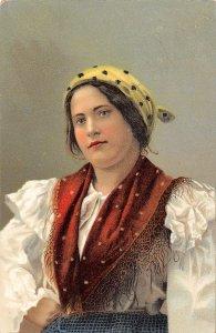 German Woman Folk Dress Germany 1906 postcard