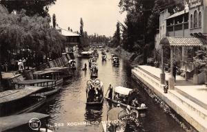 Xochimilco MX Canal Gondolas~Conchita~Ofelia~Julia~Cupita~Boy on Ledge RPPC 1945