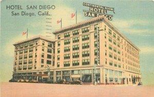 Automobiles Roadside California Hotel San Diego linen postcard MWM 20-1941