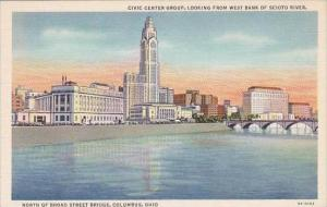 Ohio Columbus Civic Center Group Looking From West From West Bank Of Scioto R...