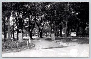 Cresco Iowa~Kessel Park Gate~Slide~Drinking Fountain~Speed Limit 10 MPH~'50 RPPC