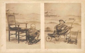 RPPC Major Chas Gantz Smallest Man Midget Sideshow Freak Dwarf Vintage Postcard