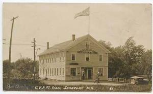 Seabrook NH Post Office & O.U.A.M. Hall RPPC Postcard