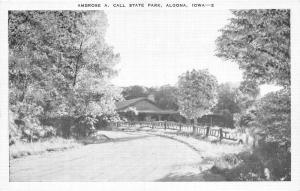 Algona Iowa~Ambrose A Call State Park~Rustic Fence & Lodge by Road~1940s Pc