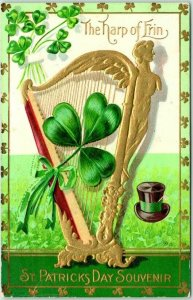 Vintage ST. PATRICK'S Day Embossed Greetings Postcard The Harp of Erin c1910s